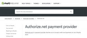 Shopify with Authorize.net integration