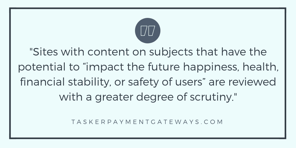 tasker payment gateways - YMYL - quote image - degree of scrutiny