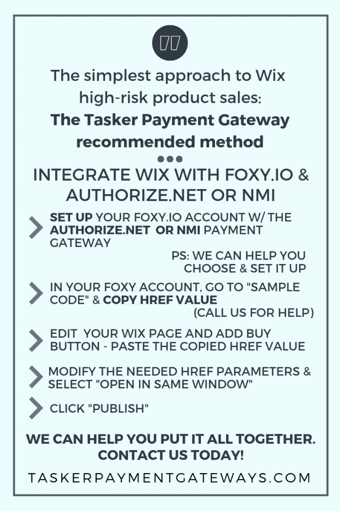 Wix high-risk integration foxy with nmi or authnet - infographic