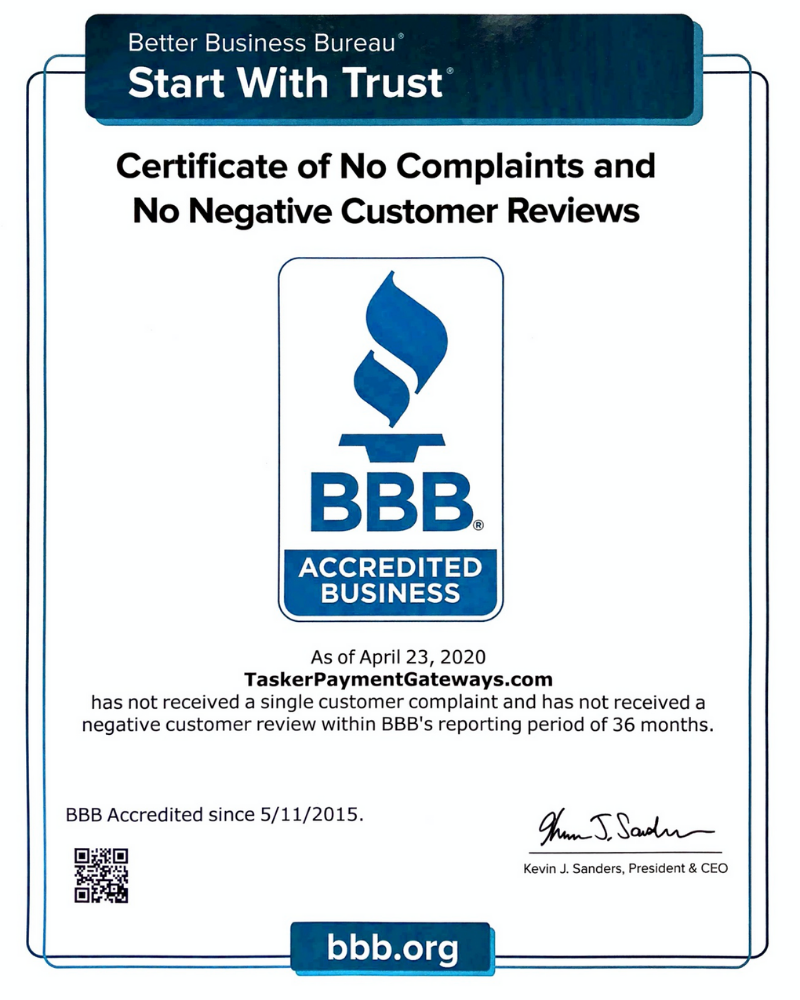 TaskerPaymentGateways - BBB - Certificate of No Complaints and No Negative Customer Reviews